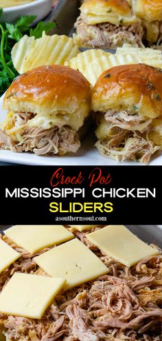 With only 5 ingredients, Mississippi Chicken cooked in the slow cooker is tender, juicy, and packed with spicy flavors. Now, this mouthwatering chicken is turned into sliders! With melted cheese and a buttery topping, they are irresistible for a weeknight meal. This scrumptious recipe is great to serve as an appetizer, for parties, and perfect for game day! Meat Recipes, Slow Cooker Recipes, Appetizer Recipes, Crockpot Recipes, Chicken Recipes, Cooking Recipes, Appetizers, Chicken Meals, Yummy Recipes