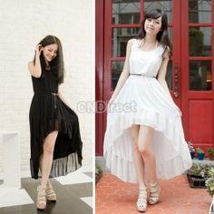 $8.30 Korea Women Round Neck Irregular Hem Chiffon Splicing Vest Dress With Belt Black/White
