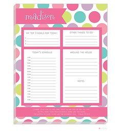 Dots Daily Schedule Notepad Back to School SALE! 30% off- shop now! Use coupon code. ends 8/4 B2S75