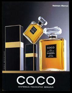 1991 Chanel Coco perfume & Eau de Parfum bottle box photo vintage print ad
