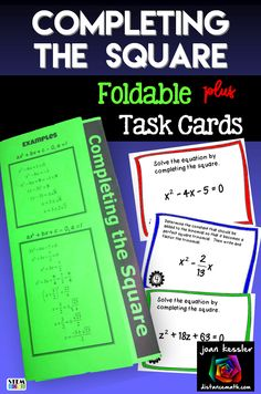 All in one resource, Completing the Square trifold notes and organizer plus 16 task cards.