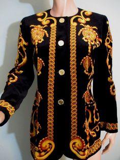 8b6c10c0c05d Vintage Escada Margaretha Ley Jacket Black Gold Velvet Germany Small Med