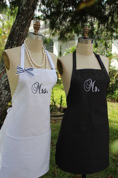 Couples Personalized Aprons  Mr. and Mrs . Aprons by Wheelering