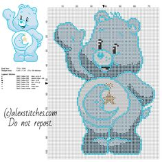 Bedtime Bear one of the original Care Bears free cross stitch pattern 70 x 100 stitches 7 DMC threads