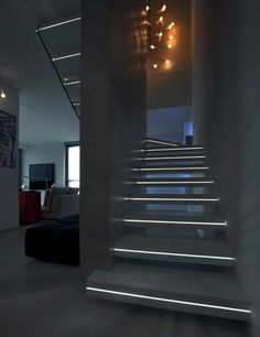 Stairway lighting Ideas with spectacular and moderniInteriors, Nautical stairway, Sky Loft Stair Lights, Outdoors Stair Lights, Contemporary Stair Lighting. Home Stairs Design, Interior Stairs, House Design, Stair Design, Staircase Lighting Ideas, Stairway Lighting, Floating Staircase, Modular Staircase, Architecture Design