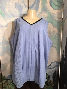 JESSICA LONDON 20 NEW BLUE CRINKLED LINED FAUX LEATHER TRIM SLEEVELESS TUNIC TOP #JESSICALONDON #Tunic #Career