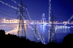 Small Town Electrification at Night in Blue - Creative Stock Imagery Royalty Free Pictures, Royalty Free Stock Photos, Web Creation, Energy Pictures, Stock Imagery, Pixel Image, Image Categories, Best Stocks, Creative Pictures