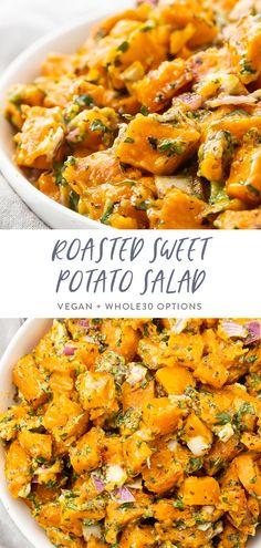Sweet Potato Bbq, Sweet Potato Side Dish, Salad With Sweet Potato, Potato Side Dishes, Sweet Potatoe Salad Recipe, Sweet Potato Shrimp, Vegan Sweet Potato Recipes, Sweet Potato Nachos, Healthy Salad Recipes