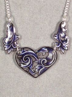 Hearts and Swirls Violet Shrinky Dink Necklace by craftasticity, $24.00