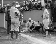 The New York Yankees took on the Washington Nationals one memorable evening in July of 1924. Babe Ruth knocked himself unconscious by Griffith Stadium's concrete east wall. Library of Congress.