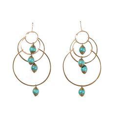 Gold Turquoise Chandelier Earrings | Pigment - http://www.shoppigment.com/products/gold-turquoise-chandelier-earrings