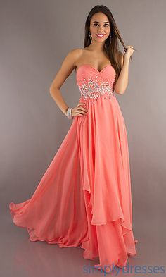 Long Coral Strap Dress W/ Silver Sequin Waist Design.
