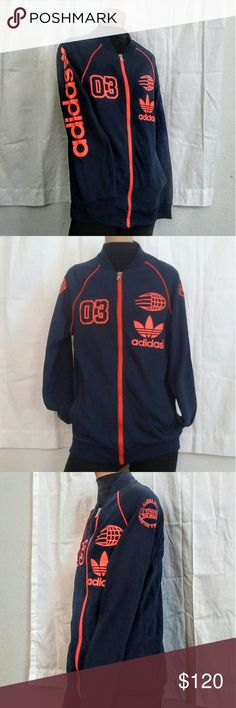 adidas Zip up Japanese Streetwear Logo Down Arm Adidas, the brand with the 3 stripes  Navy blue with fab orange accents. Nice shape Retro Style Japanese Streetwear.  I wouldn't bat an eye if I saw this on a guy, but the sizing is for women.  The zipper works well when carefully locked/unlocked into place. adidas Sweaters