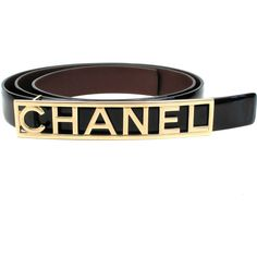 Pre-Owned Chanel Belt 2015 - Size 80 - 32 - Black Patent Leather Logo... ($799) ❤ liked on Polyvore featuring accessories, belts, black, gold buckle belt, chanel, patent leather belt, logo belt and colorful belts