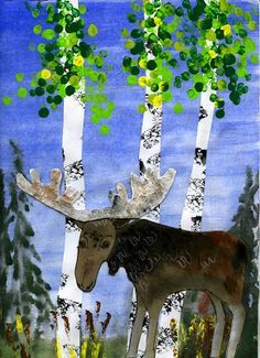 that artist woman: 'Moose in the Wild' Art Project Winter Art Projects, Winter Art Lesson, Fall Art Projects, Animal Art, Seasons Art, Wildlife Art, Art, Autumn Art, Paper Art