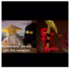 Kai this is why you weren't the green ninja lol Ninjago Kai, Ninjago Memes, Lego Ninjago, Lego Minifigs, Lego Tv, Having A Crush, In This World, Lol, How To Memorize Things