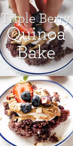 healthy Triple Berry Baked Breakfast Quinoa is studded with berries and full of flavor. It's also naturally gluten-free vegan and high in protein! Super healthy recipe and so easy to make - no dairy milk here just coconut milk. Made with flax eggs. Super Healthy Recipes, Healthy Breakfast Recipes, Healthy Desserts, Gourmet Recipes, Dessert Recipes, Baked Quinoa Recipes, Healthy Baking, Vegan Recipes, Quinoa Breakfast