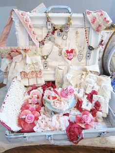 Need vintage suitcase for wedding as decor may as well find one for the Bridal shower to decorate tea decor with!
