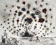 "my favorite dali piece. saw the tapestry in New Orleans. It's inspired.   Salvador Dali ""Argus""...1960...peacock..."