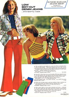 1973 bell bottoms -- Love the yellow stripped top