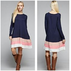 The Marissa Dress Sizes S M L XL New color block dress navy and pinks Material is rayon and spandex  Sizes S M L XL  Price Firm unless bundled Boutique  Dresses