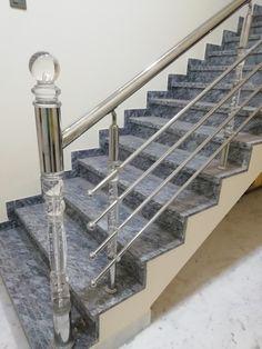 Steel Stair Railing, Steel Railing Design, Balcony Railing Design, Steel Stairs, Staircase Design, Railings, Glass Stairs, Steel Fabrication, Stair Case
