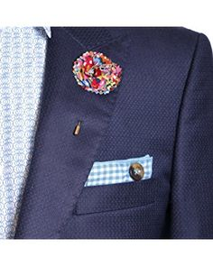 Turquoise & White Gingham w/ Brown Button Mens Pocket Square by The Detailed Male
