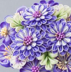 Kanzashi Flower (japanese Tsumami Kanzashi) 8151 In Box - Buy Kanzashi… Ribbon Art, Diy Ribbon, Fabric Ribbon, Ribbon Crafts, Flower Crafts, Cloth Flowers, Satin Flowers, Felt Flowers, Fabric Flowers