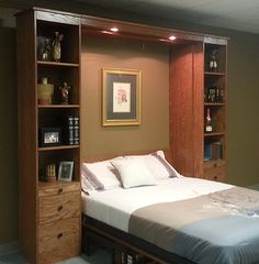 Murphy bed shown open. Notice the desk still level under the bed.