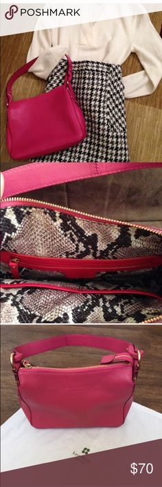 Kate Spade leather purse One of my favorite purse in the perfect shade of pink with a beautiful print inside. The purse is in excellent condition. Hope someone else can make better use of this gorgeous and fun purse! kate spade Bags Totes
