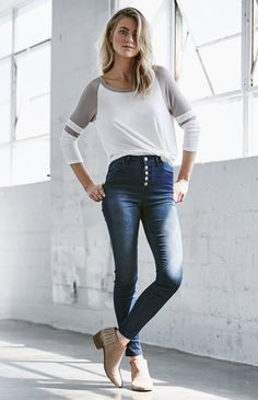 High rise skinny jeans with buttons: so flattering and can wear with a crop top at night, tee by day