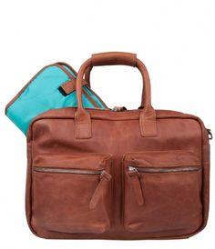 The Diaperbag incl. matje cognac & aqua inside Cowboysbag | The Little Green Bag