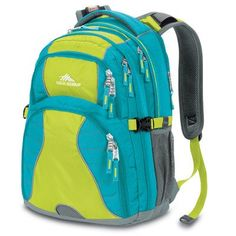 High Sierra Swerve Backpack, Tropic Teal Chartreuse/Blue, 19x13x7.75-Inch - Click image twice for more info - See a larger selection of blue backpacks at http://kidsbackpackstore.com/product-category/red-backpacks/. - kids, juniors, back to school, kids fashion ideas, teens fashion ideas, school supplies, backpack, bag , teenagers girls , gift ideas, blue