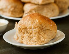"""The best whole wheat dinner rolls ever – A pinner says """"so incredibly soft and fluffy. I was looking for a whole wheat muffin recipe for Thanksgiving & I've found it! Bread Recipes, Real Food Recipes, Cooking Recipes, Cooking Tips, Healthy Recipes, Scones, Whole Wheat Rolls, Fluffy Dinner Rolls, Muffins"""