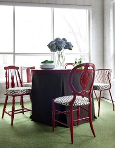 I love the idea of mixing mismatched chairs and painting them the same color and matching upholstery!