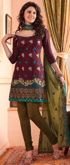 #Maroon #Cotton #Churidar Kameez @ $42.31 | Shop @ http://www.utsavfashion.com/store/sarees-large.aspx?icode=kma503
