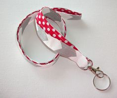 Lanyard  ID Badge Holder - Lobster clasp and key ring - design your own gray chevron white polka dots red two toned double sided