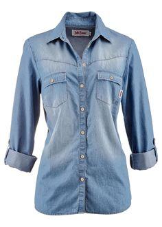 Camisa jeans com botões de pressão manga longa azul médio delavé used encomendar agora na loja on-line bonprix.de  R$ 149,00 a partir de Mangas dobráveis ...