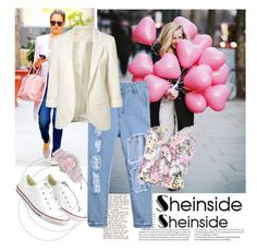 """#Sheinside"" by elmaa02104 ❤ liked on Polyvore featuring Jennifer Lopez, ASOS, Converse and August Steiner"