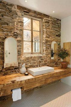 badezimmer rustikal holz wand boden begehbare dusche | bad, Hause ideen