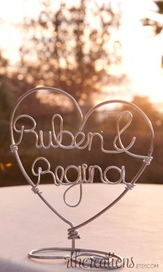Custom Name Cake Topper - Wire Cake Topper - Heart Cake Topper. $15.00, via Etsy. Dont know that I would do this but kinda cute...