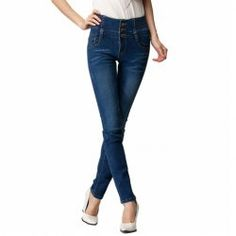 $11.70 Bleach Wash High Waistline Single-breasted Denim Solid Color Pencil Pants For Women