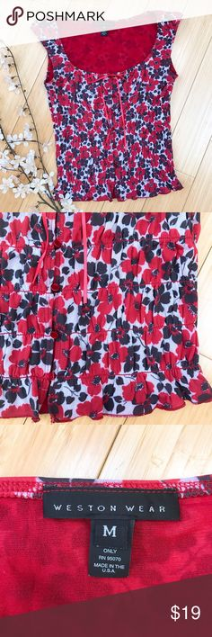 "Anthropologie WESTON WEAR poppies shirt, M. Beautiful and stretchy sleeveless top by Anthropologie brand Weston Wear, size medium. The stretchy mesh fabric allows for this to be flexible fitting a small up through a bigger size medium. Bust is 18"" and easily stretches to 22, length is 19 inches but stretches longer. Beautiful red poppy print. Delicate bow at bust line. Great condition. Anthropologie Tops Blouses"