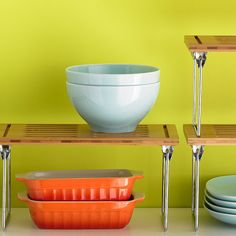 Put shelves on top of your shelves.   31 Insanely Clever Ways To Organize Your Tiny Kitchen