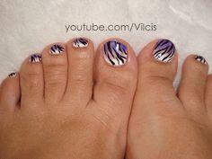 Uñas de gato...: Diseño de uñas de los pies: cebra en degradado