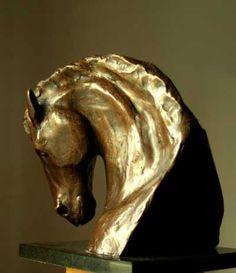Bronze Farm Yard sculpture by artist IAN MILNER titled: 'Stallion Pride (Small/Little bronze Horse Head/Bust sculptures)'