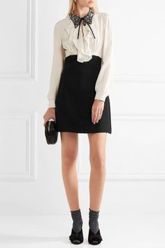 Miu Miu | Embellished ruffled silk and cady mini dress | NET-A-PORTER.COM
