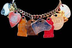 Dog Charm Bracelet - Vintage Assemblage with Dog Tags.
