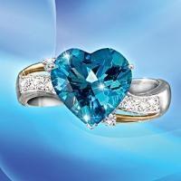 blue topaz and diamond heart ring