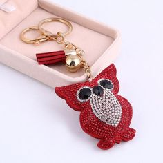Cute Crystal Owl Pendant Key Chain with Leather Tassel 6 Colors